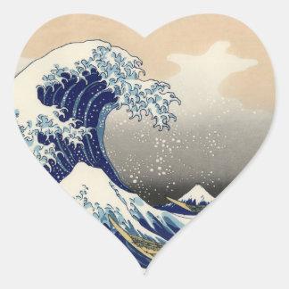 The Great Wave off Kanagawa Heart Sticker