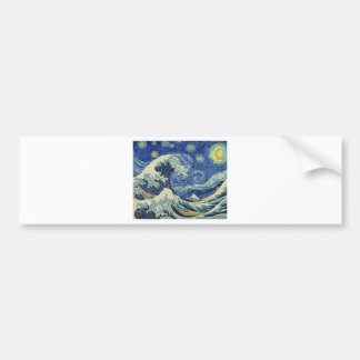 The Great Wave Off Kanagawa - The Starry Night Bumper Sticker