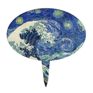 The Great Wave Off Kanagawa - The Starry Night Cake Topper
