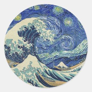 The Great Wave Off Kanagawa - The Starry Night Classic Round Sticker
