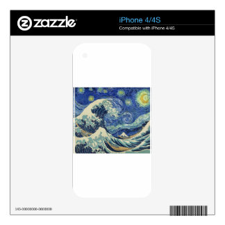 The Great Wave Off Kanagawa - The Starry Night Decals For iPhone 4S