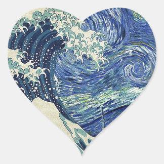 The Great Wave Off Kanagawa - The Starry Night Heart Sticker