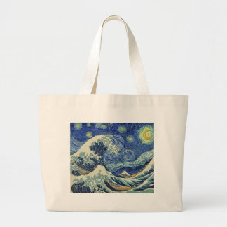 The Great Wave Off Kanagawa - The Starry Night Large Tote Bag