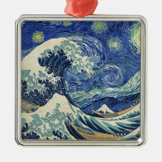 The Great Wave Off Kanagawa - The Starry Night Metal Ornament