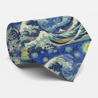 The Great Wave Off Kanagawa - The Starry Night Neck Tie