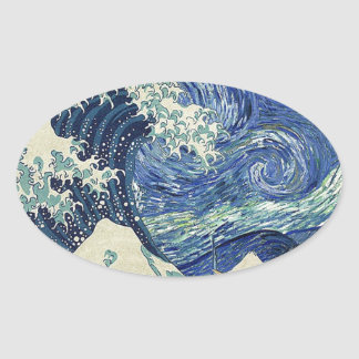 The Great Wave Off Kanagawa - The Starry Night Oval Sticker