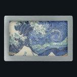 "The Great Wave Off Kanagawa - The Starry Night Rectangular Belt Buckle<br><div class=""desc"">The Great Wave Off Kanagawa - The Starry Night Katsushika Hokusai - Vincent van Gogh</div>"