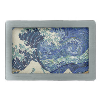 The Great Wave Off Kanagawa - The Starry Night Rectangular Belt Buckle
