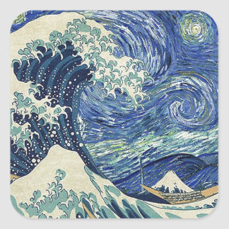 The Great Wave Off Kanagawa - The Starry Night Square Sticker