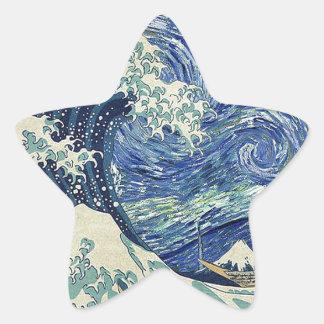 The Great Wave Off Kanagawa - The Starry Night Star Sticker
