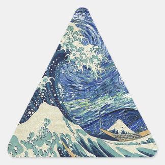 The Great Wave Off Kanagawa - The Starry Night Triangle Sticker