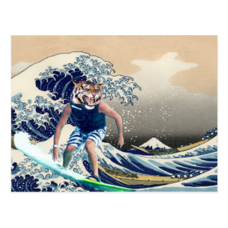 The Great Wave Off Kanagawa Tiger Surfer Postcard