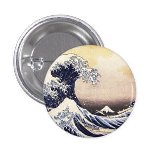 The Great Wave Off Kanagawa Vintage Japanese Art Pinback Button
