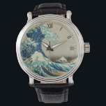 """The Great Wave off Kanagawa Wristwatch<br><div class=""""desc"""">The Great Wave off Kanagawa is one of a thirty-six Views of Mount Fuji is an ukiyo-e series of large, color woodblock prints by the Japanese artist Katsushika Hokusai (1760–1849). The series depicts Mount Fuji in differing seasons and weather conditions from a variety of different places and distances. It actually...</div>"""
