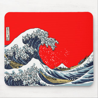 The Great Wave Off Katagawa RED Mouse Pad