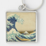 The Great Wave Off Shore of Kanagawa Silver-Colored Square Keychain