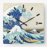 The Great Wave Off Shore of Kanagawa(With Numbers) Square Wallclocks
