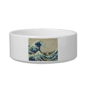 The Great Wave Cat Food Bowl