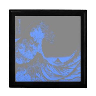 The Great Wave Seafoam Blue & Gray Jewelry Box