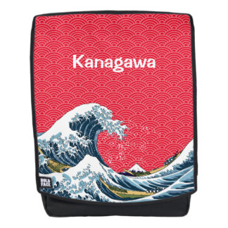 The Great Wave with Japanese Wave Pattern Backpack