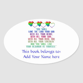 The Greatest Commandment Oval Sticker