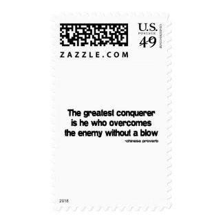 The Greatest Conquerer quote Postage Stamps