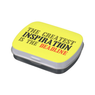 THE GREATEST INSPIRATION IS DEADLINE FUNNY MEME JELLY BELLY CANDY TIN
