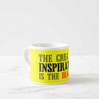 THE GREATEST INSPIRATION IS DEADLINE FUNNY MEME ESPRESSO MUG