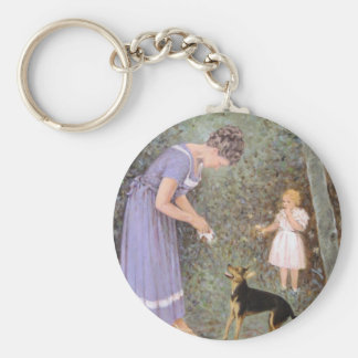 The Greedy Small Dog by Guido Marzulli, Realism Basic Round Button Keychain