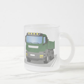 the Green building sites truck Frosted Glass Coffee Mug