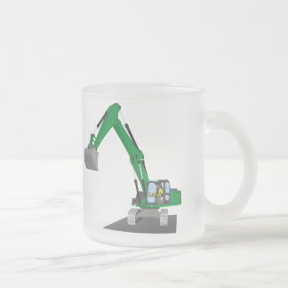 the Green chain excavator Frosted Glass Coffee Mug