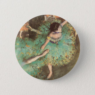 The Green Dancer by Edgar Degas, Vintage Ballet Pinback Button