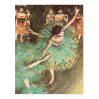 The Green Dancer by Edgar Degas, Vintage Ballet Postcard