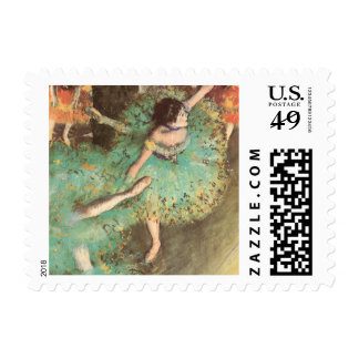 The Green Dancer by Edgar Degas, Vintage Ballet Stamp
