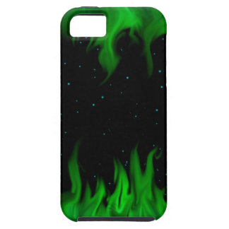 The Green de flames at the starlit sky iPhone 5 Fundas