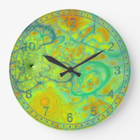 The Green Earth Abstract Fractal Teal & Gold Tides Large Clock