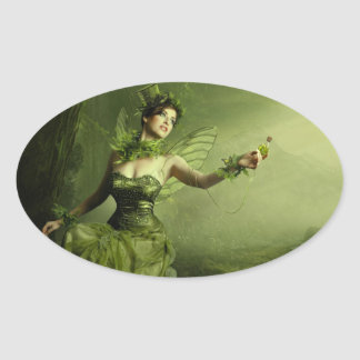 The Green Fairy Oval Sticker