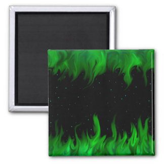 The Green flames at the starlit sky 2 Inch Square Magnet