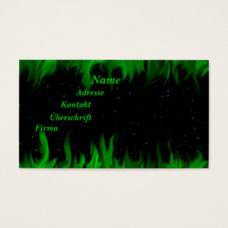 The Green flames at the starlit sky Business Card