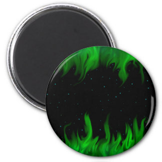 The Green flames at the starlit sky Magnet