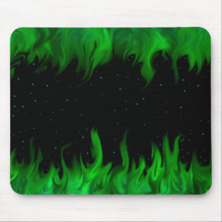The Green flames at the starlit sky Mouse Pad