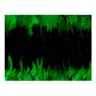 The Green flames at the starlit sky Postcard