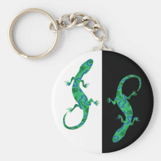 The Green Gecko kind Deco black and white Basic Round Button Keychain