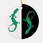 The Green Gecko kind Deco black and white Design Ornament
