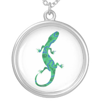 The Green Gecko kind Deco Silver Plated Necklace