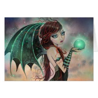 The Green Gem Fantasy Vampire Fairy Art Greeting Card