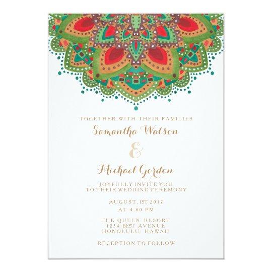 The green mandala wedding invitation card zazzle the green mandala wedding invitation card stopboris Choice Image