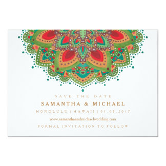 The Green Mandala Wedding Save the Date Card