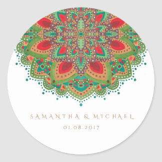 The Green Mandala Wedding Thank You Sticker