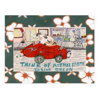 The Green Non Polluting Car Trip Postcard